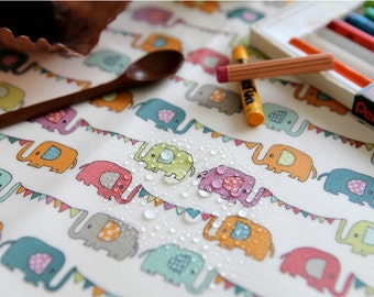 Laminated Cotton Fabric - Elephants - By the Yard 73430