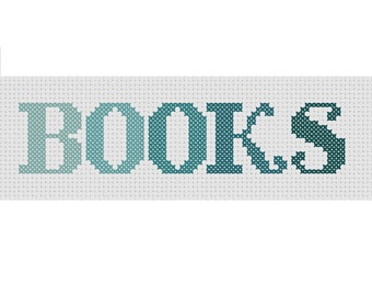 "Cross Stitch PDF Pattern Bookmark Ombre Colors ""BOOKS"""