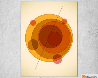 Mid Century Modern Art - Orbit A - Abstract Contemporary Giclée Gallery Quality Art Print - Small Medium Large Home Decor Art Prints