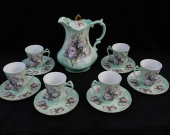 Chocolate Service: Hand decorated porcelain