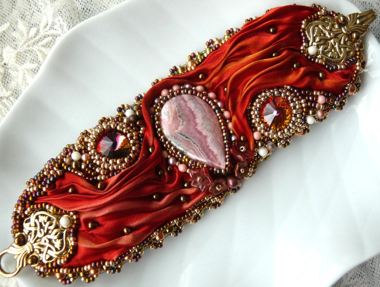 Bead embroidered cuff bracelet rhodochrosite by maewadesign
