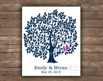 Wedding alternative guest book. Large tree 250 leaves. Love birds and baby in nest on request. Printable file