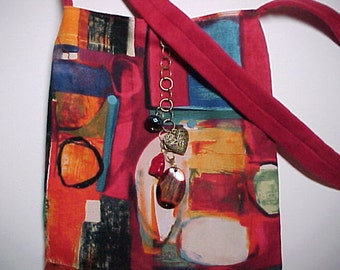 "Crossbody Bag Reversible Washable ""ABSTRACT "" Sling  Purse with Keychain / Bagcharms"
