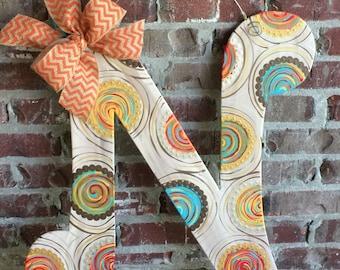 """Wood Initial """"N"""" Door Hanger"""