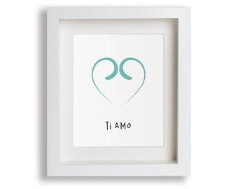 NEW I Love You (Italian) Nursery Art Print - Childrens Decor, Baby's Nursery, Kids Wall Art, Playroom Decor, Heart Nursery, Baby Girl's Room