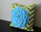 Decorative Throw Pillow Cover, Light Blue Chrysanthemum Pillow Cover, Accent Pillow, Sofa Pillow, 14x14,16x16, Bedroom Pillow, Toss Pillow