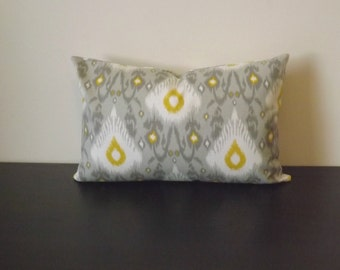 Ikat Lumbar Pillow Cover, Decorative Throw Pillow, Decor Pillow Gray and White Lumbar,Toss Pillow, Accent Pillow, 12x16,12x18