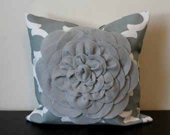 Decorative Throw Pillow Cover, Gray Chrysanthemum Flower Pillow Cover, Accent Pillow, Toss Pillow, 14x14, 16x16,Sofa Pillow