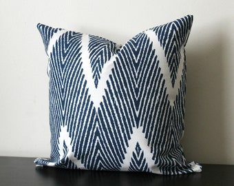 Indigo Blue Ikat Chevron Decorative Pillow Cover, Throw Pillow, Accent Pillow, Toss Pillow, 16x16, 18x18, 20x20, Bali Lacefield Textiles