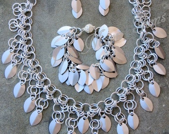 Chainmaille with Scales Necklace - 3pc set - Stainless Steel Scales