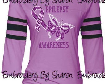 Rhinestone Epilepsy Awareness Spirit Jersey - epilepsy shirt - epilepsy t shirt - epilepsy awareness ribbon