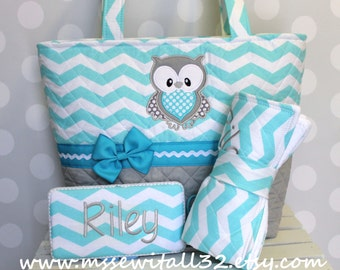 XL Quilted Aqua / Blue Chevron / Zig Zag / Owl Applique Diaper Bag Set - Changing Pad - Wipes Case