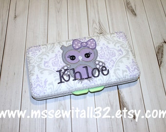 Custom Lavender and Gray Damask with Owl Applique Diaper Wipes Case