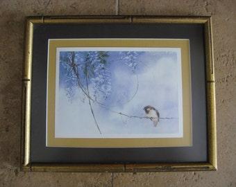 Small Framed Oriental Art - Wisteria- Sparrow- Contemporary Asian