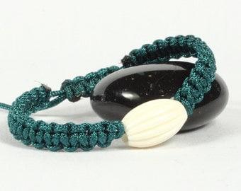 Macrame bracelet, Bone bead, Emerald green Chinese knotting cord, CarolMade M11