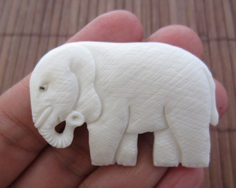 Hand carved Large 53mm x 33mm  Elephant,  Carved bone cabochon, Jewelry making Supplies B4952