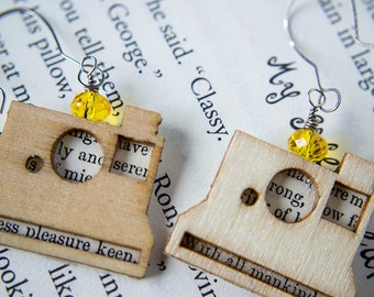 Vintage Poloroid Camera Yellow Poetry Book Earrings