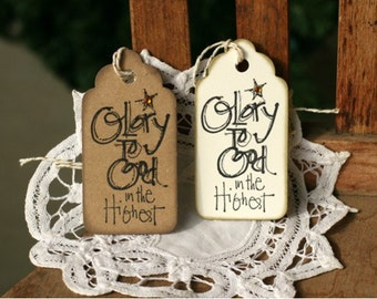 Christmas Gift Tags - Set of 8  Holiday gift tags with twine - Glory to God in the Highest - Religious tag