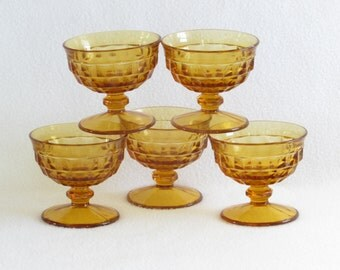 Vintage Lot of 5 Honey Colored Sundae Glasses - Dessert Cups - Vintage Home Kitchen Decor