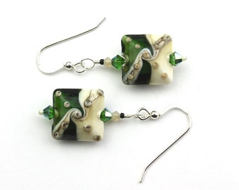 Green and Ivory Lampworked Glass Bead Sterling Earrings
