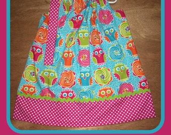 Owl and Polka Dot Pillowcase Dress - Size 3 - Ready to Ship