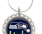 Set of 6 - PERSONALIZED WINE CHARMS - Go Seahawks- Perfect For Superbowl - Party Favors