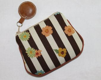 Mini Zipper Pouch Card Cash  Coin / change Purse Floral Brown and ivory Stripe
