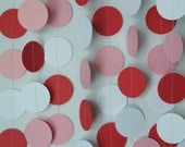 Valentines Garland, Red White Pink Paper Garland, Valentine Party Decoration, 10 ft. long