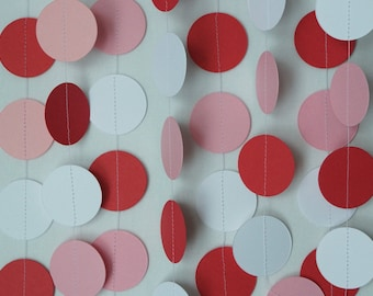 Valentines Garland, Red White Pink Paper Garland, Valentine Party Decoration, 10 ft. long