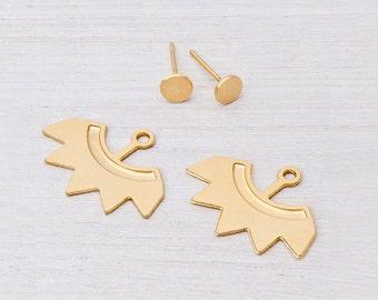 Pure gold earrings, 14 K gold Ear jackets: gold stud ear jackets, Fine jewelry.