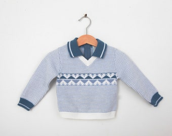Vintage Sweater in Blue and White 1970s