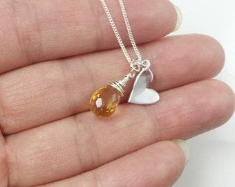 November Birthstone Necklace-Citrine Necklace-Sterling Silver Gemstone Necklace ,Yellow Citrine Teardrop-Heart Necklace , Bridesmaids Gift