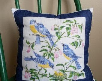 Vintage Bluebird Hanky Throw Pillow