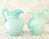 Mint Shabby Chic Centerpieces, Set of 2, Wedding Decor, Vintage Decor, Mint Decanter
