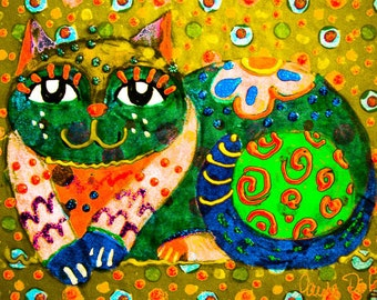 Cat Art, Cat Decor, Whimsical Cat Print, Yellow And Green, Children's Wall Art, Art For Kids, Animal Art, Patchwork Cat by Paula DiLeo_13115