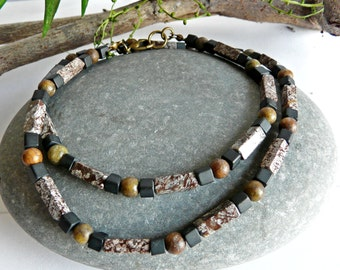 Mens Gemstone Necklace Obsidian Jasper and Onyx Free Worldwide Shipping
