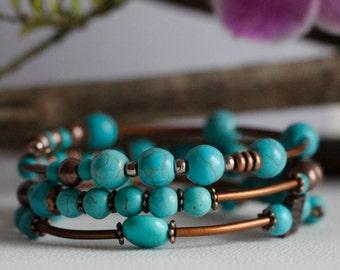 Gemstone Bead Wrap Memory Bracelet Turquoise Copper Free Worldwide Shipping