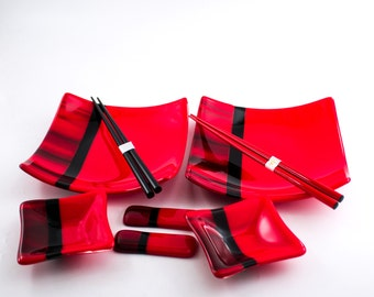 Red and Black Sushi Set, Japanese Dinnerware, Fused Glass, Square Dinner Plates, Small Bowls, Japanese Chopsticks, Chopstick Rests, Gift Set