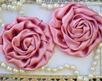 2 Large Satin Rolled Dusty Rose/Rosettes- Pink fabric flowers, satin flower, DIY headband supplies, accessory supplies