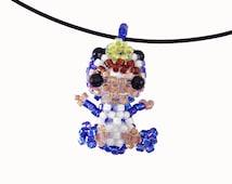 Penguin Necklace, Beaded Penguin, penguin pajamas, penguin suit, seed bead girl, doll pendant necklace, 3D