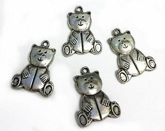 4pc 25x19mm antique silver finish metal bear pendants-B36