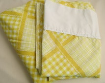 Vintage Sheets - Yellow Gingham Plaid- 2 Piece Twin or Single Sheet Set