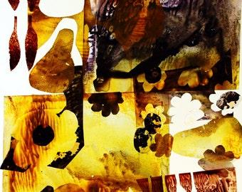 "food illustration art print / botanical collage fruit painting art  / brown green black large wall art kitchen decor / ""pears + olives """