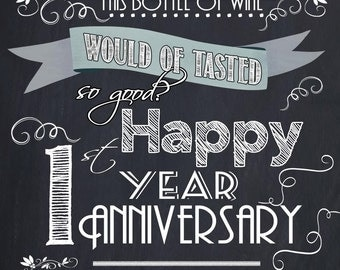 Wedding Wine Labels, Custom Wine Labels, Anniversary labels 1st Year Anniversary - Sparkling Cider, Champagne SET OF 2