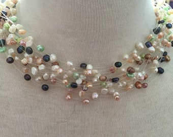 Pastel freshwater pearl multistrand necklace