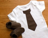 Baby Boy Onesie with Baby Shoes, Size 3 mos Onesie, Boy Gift Set, Baby Boy Onesie with Tie, Baby Boy Bodysuit, Baby Gift, Ready to Ship