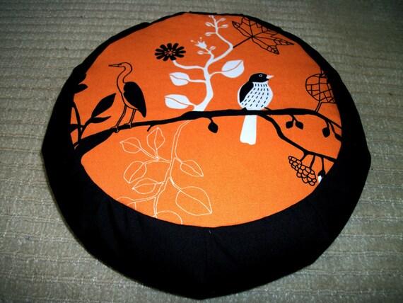 Meditation Cushion. Zafu. Pouf. Orange Ikea Birds print by ZafuChi