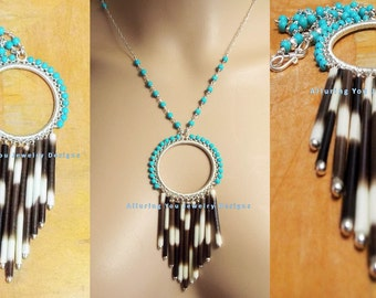 African Porcupine Quill Necklace, Taxidermy Necklace, Sterling Silver Necklace, Tribal Necklace, Statement Bib Necklace, Turquoise Necklace