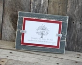 Distressed Wood Picture Frame - Holds a 4x6 Photo - Gray & Crimson Red