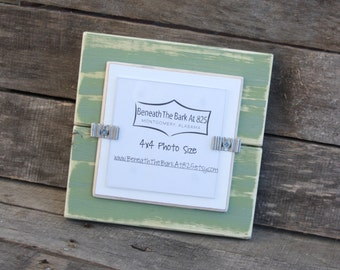 4x4 Picture Frame - Distressed Wood - Holds a 4x4 Photo - Sage Green & White